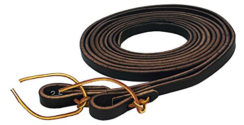 Hamilton Extra Heavy Leather Split Reins, 1/2-Inch by 7-Feet, Black