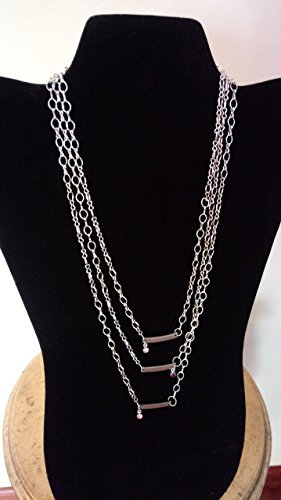 Stainless Steel Charm Bars with Crystal Drop Necklace
