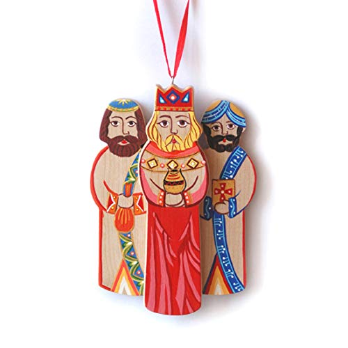 (Christmas Ornament Three Wise-men painted on wood)