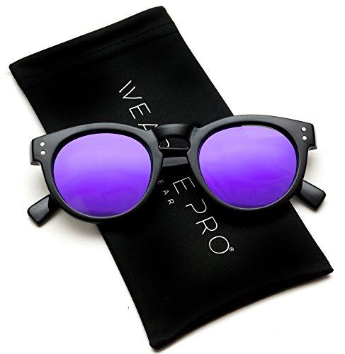Vintage Inspired Mirror Lens Round Horned Rim Frame Retro Sunglasses