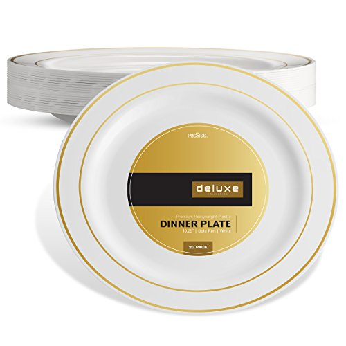 DELUXE PLASTIC PARTY DISPOSABLE PLATES | 10.25 Inch Hard Wedding Dinner Plates | White with Gold Rim, 20 Pack | Elegant & Fancy Heavy Duty Party Supplies Plates for all Holidays & (Gold Rim Dinner)