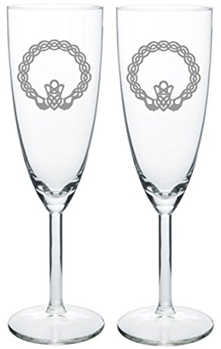 Cheap IE Laserware Celtic Irish Claddagh Toasting Champagne Wedding Party Flutes