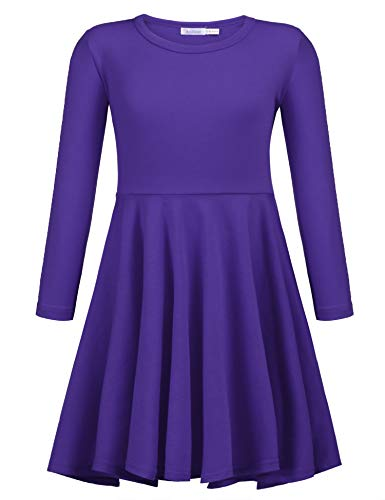 Arshiner Girls' Cotton Long Sleeve Twirly Skater Party Dress, Purple, 6 Years