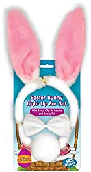 Easter Ears - 3pc Easter Bunny Light-up Blinking Ear Set with Clip-on Tail and Bowtie - One Size Fits All