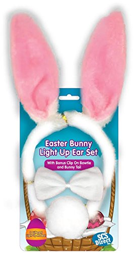 SCS Direct Easter Bunny Ears 3pc Light Up Rabbit Toy w Tail, Bowtie, and Blinking LED Ears for Party Costume ()