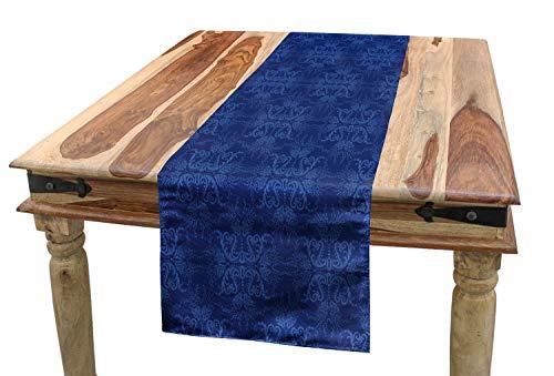 ABAKUHAUS Azul Marino Camino de Mesa, Adorno Victoriano, Decorativo para el Comedor o Sala de Estar Estampa Digital, 40 x 180 cm, A
