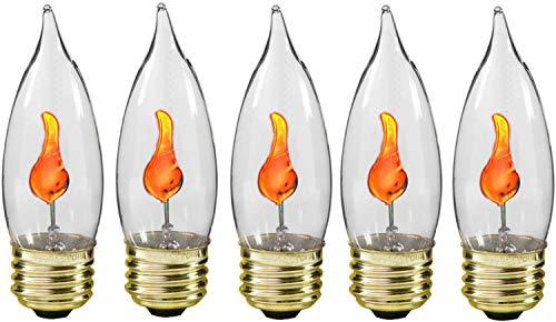 Creative Hobbies® 10J Flicker Flame Light Bulb -Flame Shaped, E26 Standard Base, Flickering Orange Glow - Box of 5 ()