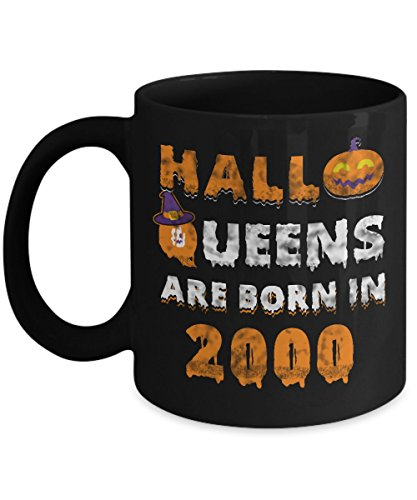 17th Birthday Gifts Halloqueens are born in 2000 Funny Halloween Costumes Set Coffee Mugs Best Party Idea for girls friend mom women sister aunt -