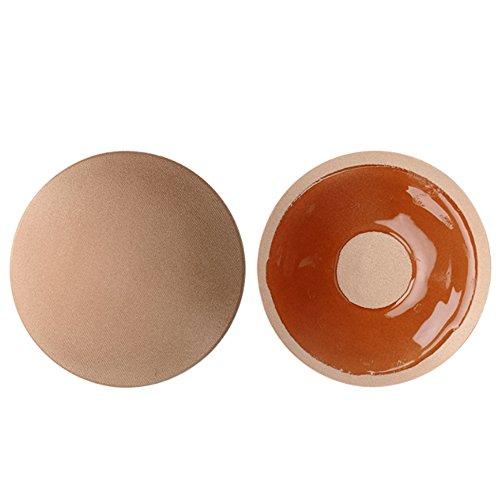 Women Ladies 3 Pairs Self-Adhesive Nude Bra Silicone Nipple Cover Pads Round Nude 2