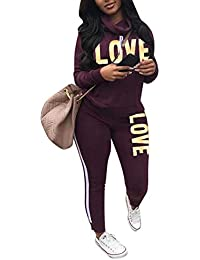 af3e80cf4567c Women s Letter Print 2 Piece Outfits Cowl Neck Long Sleeve Sweatshirt and  Pants Set Tracksuit