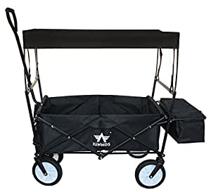 Sports God Folding Wagon Collapsible Utility Graden Cart with Removable Canopy + Storage Basket + FREE Cooler (Black)