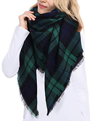 Bess Bridal Women's Plaid Blanket Winter Scarf Warm Cozy Tartan Wrap Oversized Shawl Cape (One Size, Green) (Green Chunky Scarves)