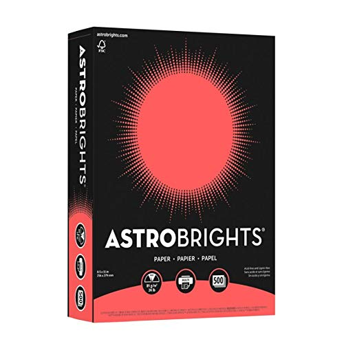 """Learning Resources 22641 Astrobrights Color Paper, 8.5"""" x 11"""", 24 lb / 89 gsm, Rocket Red, 500 Sheets"""