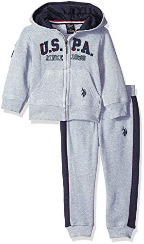 Hoodie Fleece Pants (U.S. Polo Assn. Boys' Little Fleece Jog Set, Thicket Stripe Hoodie Solid Pant Light Heather Gray, 7)