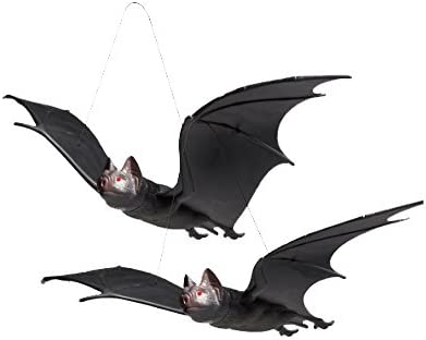 Pack of 3 Black Rubber Hanging Bats Spooky Creepy Scary Halloween Decoration