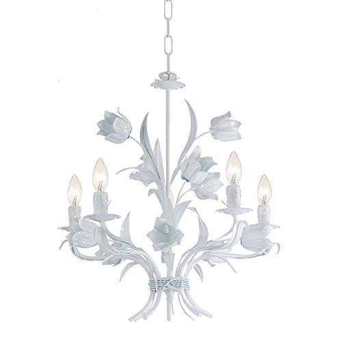 Crystorama 4815-WW Leaf, Flower, Fruit Five Light Chandelier from Southport collection in Whitefinish, ()