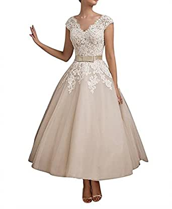 Fnks Women 39 S 1950s Vintage Tea Length Wedding Dresses Lace