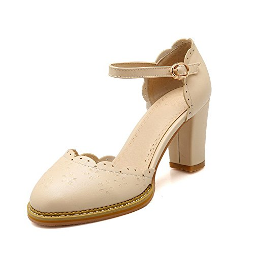 VogueZone009 Women's Buckle Round Closed Toe High-Heels PU Solid Sandals Apricot qRi1et