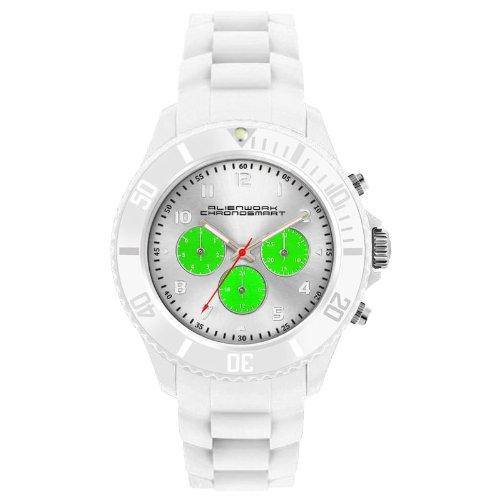 Alienwork Chronosmart Reloj Unisex Relojes Mujer Hombre Silicona blanco Analógicos Cuarzo Calendario Fecha verde Impermeable Sport