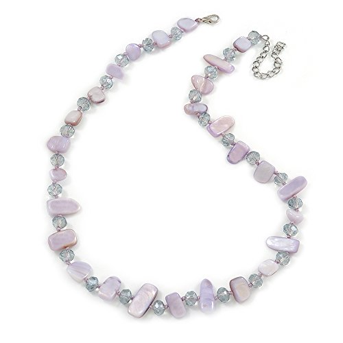 Avalaya Delicate Pale Lavender Sea Shell Nuggets and Glass Bead Necklace - 48cm L/ 7cm Ext ()