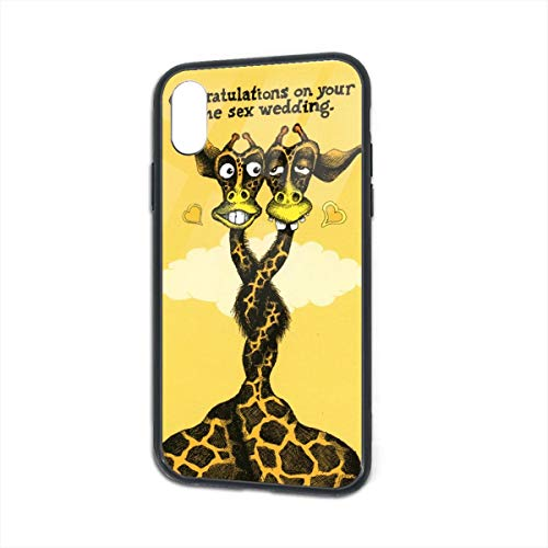 BaiRIhe iPhone X/XS Case, Neck Intertwined Giraffe Transparent Glass Mobile Phone Shell, Strong Handset Sheath Shock Protection Housing