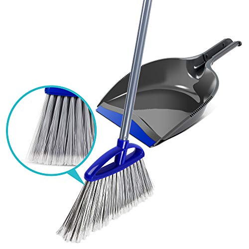 Angle Soft Bristles Broom and Hand-Held Dustpan for Floor Cleaning Sweep -