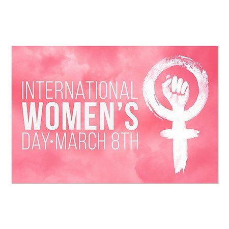 CGSignLab | ''Women's Day -Pink Symbol'' Repositionable Opaque White 1st Surface Static-Cling Non-Adhesive Window Decal (5-Pack) | 30''x20'' by CGSignLab