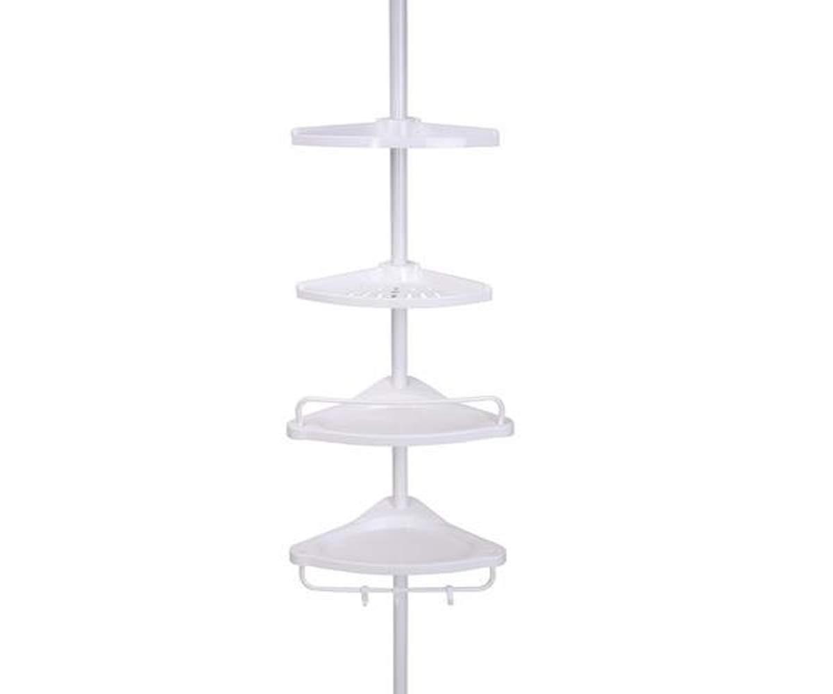 Tuscany 4 Shelf Tension Pole Caddy Neat Fashionable Organization Bathroom Organizers - Steel Rust Resistance - 8.5'' L x 10.5'' W x 108'' H in White