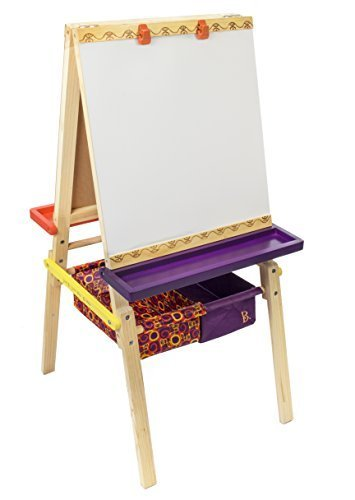 B. Toys Easel Does It Wooden Art Easel with Chalkboard, Whiteboard, and Storage Bins by B. Toys