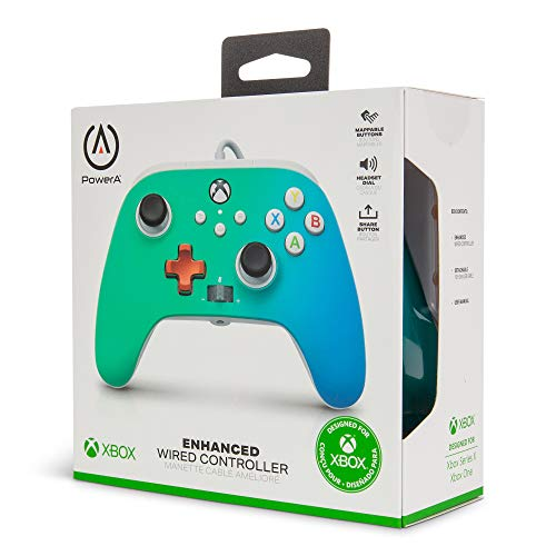 PowerA Enhanced Wired Controller for Xbox – Seafoam Fade, Gamepad, Wired Video Game Controller, Gaming Controller, Xbox Series X|S, Xbox One – Xbox Series X (Only at Amazon) 41DHg0krZwL