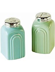 50s Retro Stoneware Salt and Pepper Shakers Set