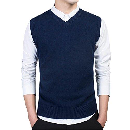 PUTAOJIAZI Pullover Sweater Men Slim Vest Sleeveless Men's Warm Sweater Cotton Casual Blue 7789 M