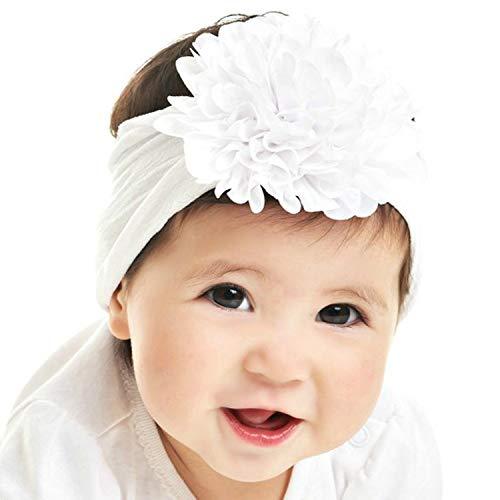 (Miugle Newborn Baby Girl Baptism Wide Nylon Headbands with Bows White)