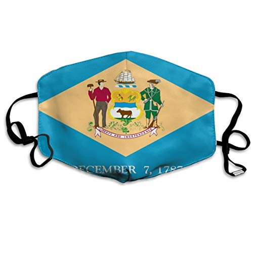 SDQQ6 Flag of Delaware Mouth Mask Unisex Printed Fashion Face Mask Anti-dust -