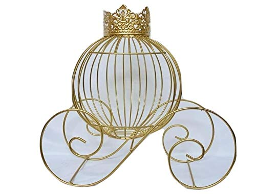 Gold Metal Wire Princess Crown Pumpkin Carriage Centerpiece Decoration For Birthday, Sweet 16 Weddings Princess Party 11.5