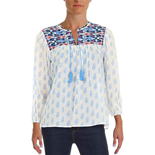 Joie Womens Erlene Bishop Sleeves Embroidered Peasant Top White XXS