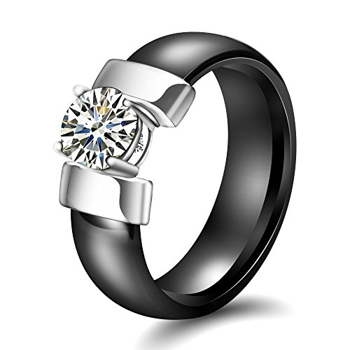 VQYSKO Gold Color Stainless Steel Ceramic Rings with Cubic Zirconia Women Rings (Silver Black, 10)