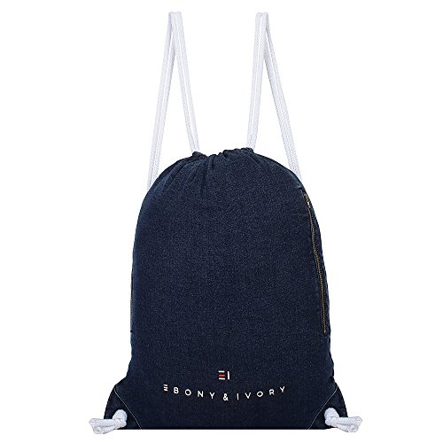 EBONY & IVORY Classic Denim Men & Women Sport Gym Sackpack Drawstring Backpack- Dark Indigo (Imperial Denim)