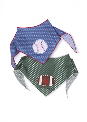 (Tail Trends 2 Pack Sports Dog Bandana for with Football and Baseball Designer Applique Fits Small to Medium Sized Dogs - 100%)