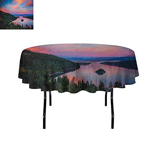 DouglasHill Lake Tahoe Washable Tablecloth California Photography Rustic Themes Sundown Time Freshwater Sierra Nevada Lake Dinner Picnic Home Decor D67 Inch Multicolor