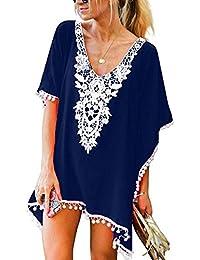 154c9163bb Women's Crochet Chiffon Tassel Swimsuit Beach Bikini Cover Ups for Swimwear
