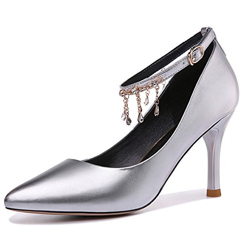 Silver U Buckle Comfortable Women's Shoes High Pumps Pointy MAC Chic Toe Platform Strap Heels YwZ1xYOqr