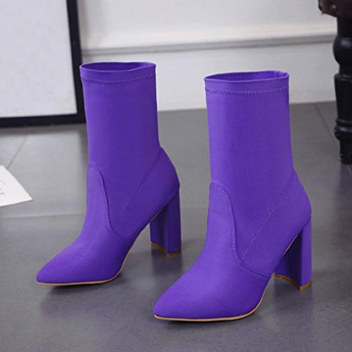 Kaicran Damesschoenen Mode Hoge Hak Laarzen Voor Dames Klassieke Stretch Stof Enkellaarzen Paars