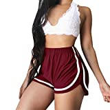wodceeke Women's Running Shorts, Solid Color White Border Slim Pants Gym Workout Waistband Skinny Shorts Pants (XL, Red)
