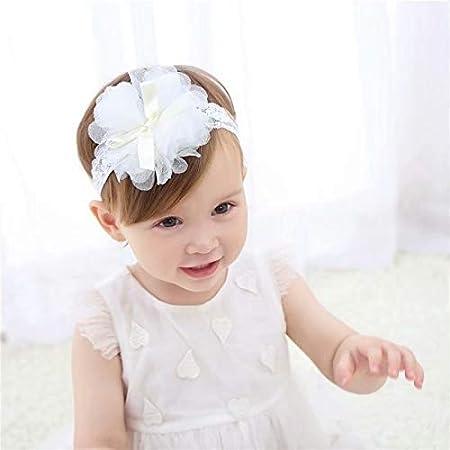 LinZhe Baby Girl Headband Infant Chiffon Headdress Faux Pearl Hairband