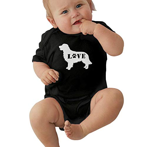Short Sleeve Cotton Rompers for Baby Boys and Girls, Soft Golden Retriever Love Dog Paw-1 Playsuit Black ()