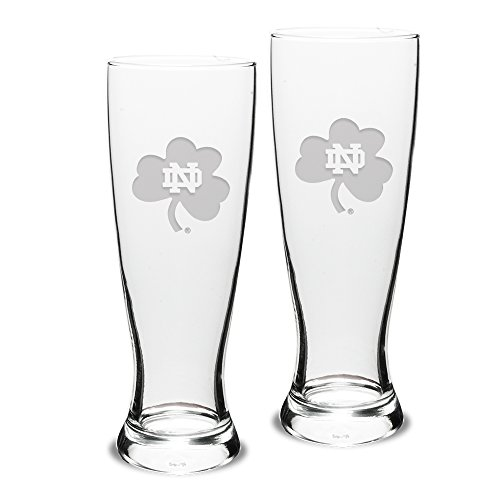 NCAA Notre Dame Fighting Irish Adult Set of 2 - 23 oz University Pilsners Deep Etch Engraved, One Size, Clear ()
