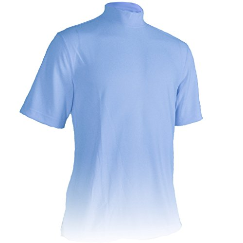 Golf Performance Mock Shirt - Monterey Club Mens Dry Swing Classic Pique Mock Neck Shirt #3304 (Alaska Blue, X-Large)
