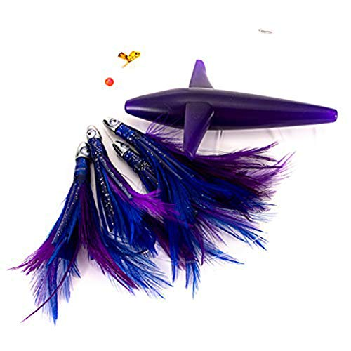 """Purple//Black 9/"""" TEASER BIRD WITH TAIL Holographic Scale Saltwater Fishing Lure"""
