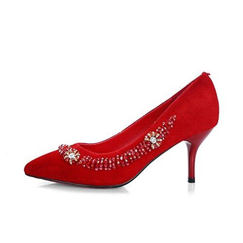 Rosse scarpe figura Donne Tallone Pecora Cono Bead Glass Balamasa Pompe Diamante Modo Del FP7xqXOn